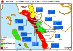 Random header image at Geospasial – BNPB      * Home     * Tentang BNPB     * Subscribe via RSS  Peta Jumlah Kerusakan Rumah Akibat Gempa di Provinsi Sumbar